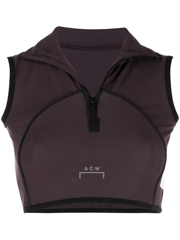 A-COLD-WALL* zipped vest crop top in brown
