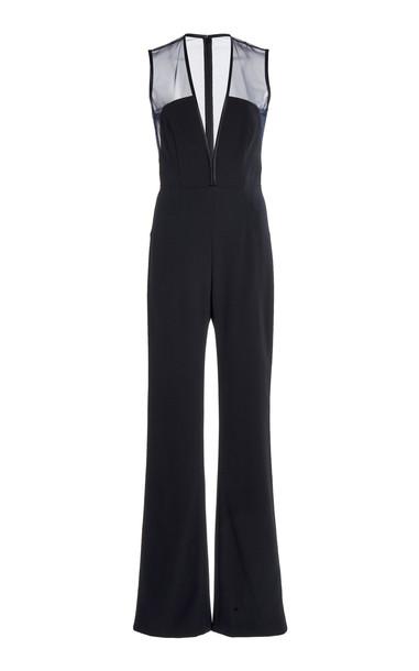 Galvan Blade Crepe Straight-Leg Jumpsuit in black