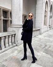 sweater,black sweater,black boots,turtleneck sweater,black skinny jeans,black bag