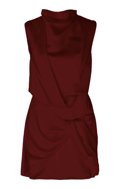 Acler Jasper Draped Sateen Mini Dress Size: 2 in red