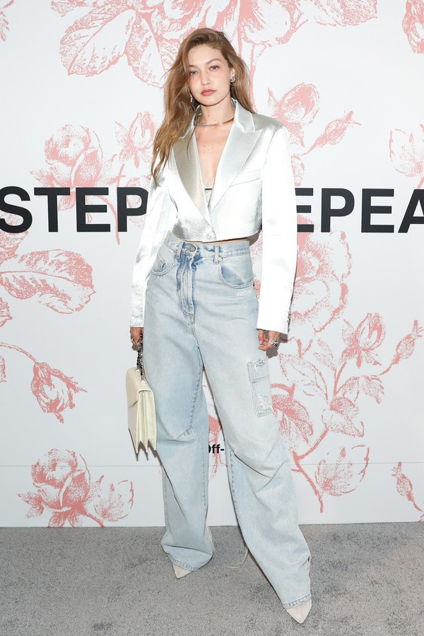 jeans gigi hadid model off-duty blazer wide-leg pants