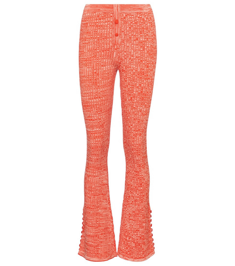Live The Process Marl ribbed-knit flared pants in orange