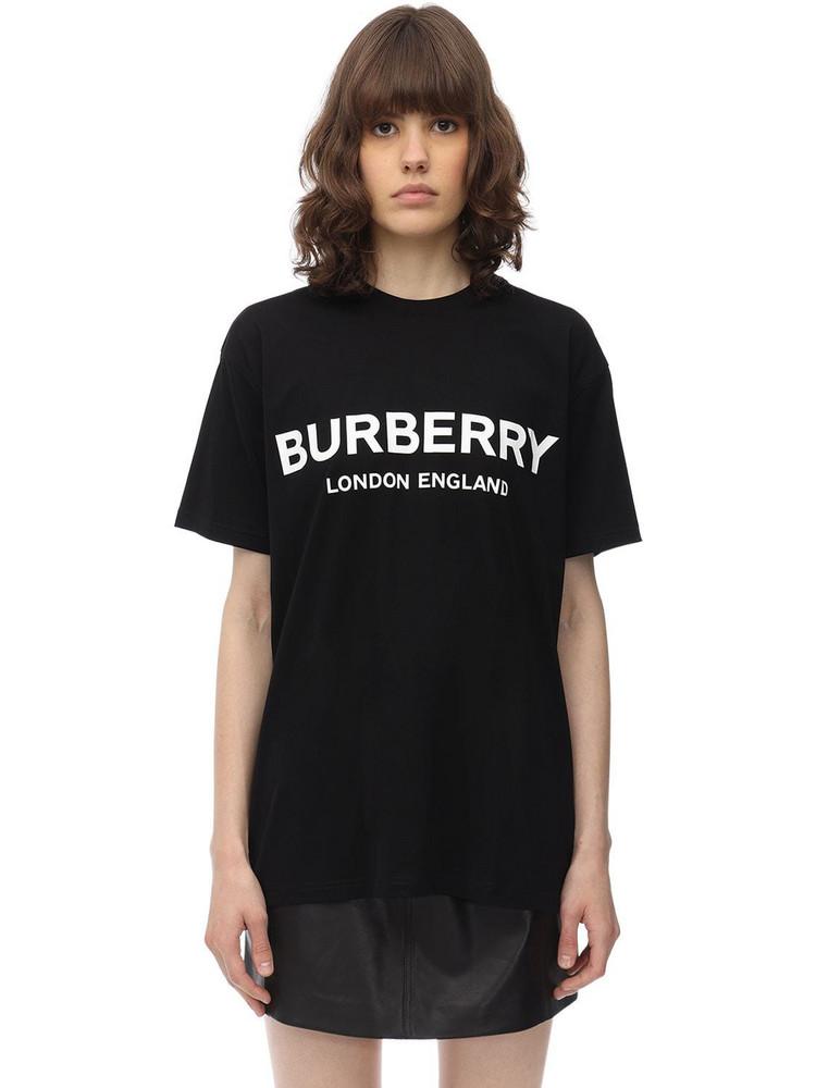 BURBERRY Logo Print Cotton Jersey T-shirt in black