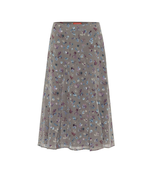 Altuzarra Ruri floral silk midi skirt in grey
