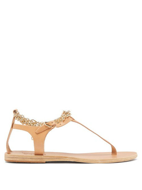 Ancient Greek Sandals - Chrysso Ball Chain Leather Sandals - Womens - Tan