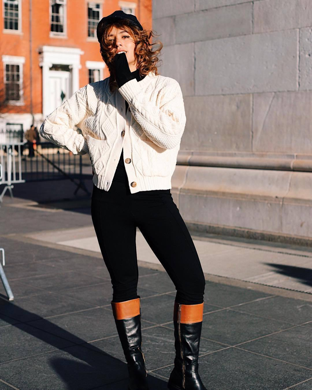 sweater knitted cardigan cable knit ralph lauren black boots knee high boots black skinny jeans black turtleneck top beret