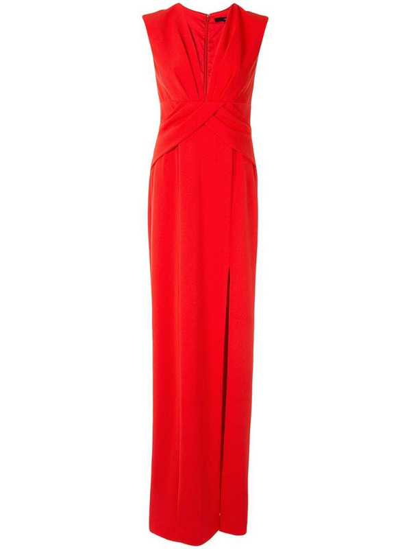 Jay Godfrey wrap-style evening gown in red