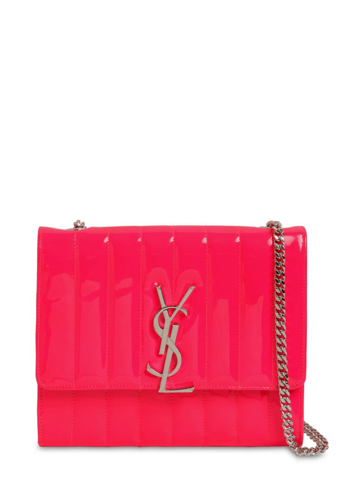 SAINT LAURENT Viki Quilted Leather Chain Wallet Bag in pink