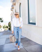 top,white blouse,high waisted jeans,ripped jeans,slide shoes,bag
