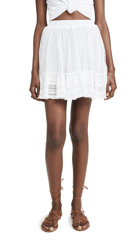 Place Nationale La Bléone Grid Lace Tiered Miniskirt in white