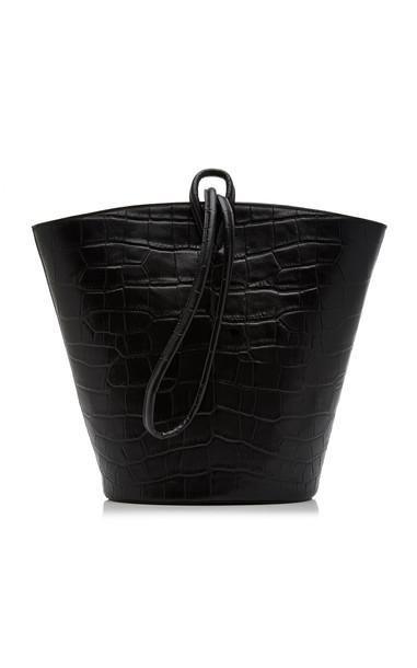 Little Liffner Medium Croc-Effect Loop Bucket Bag in black