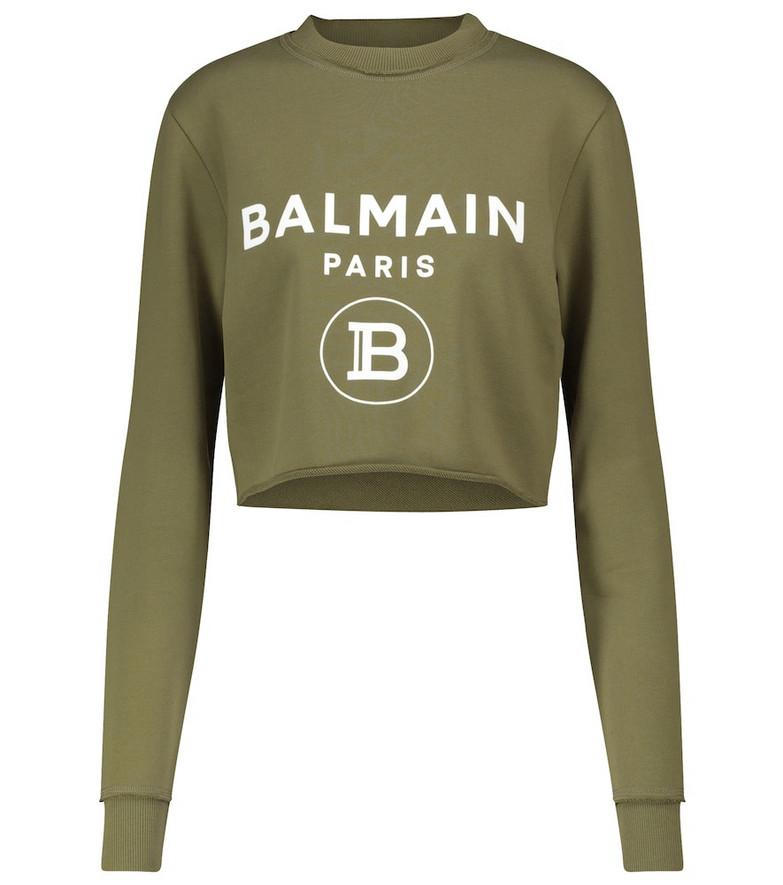 Balmain Exclusive to Mytheresa – Logo cropped cotton sweatshirt in beige