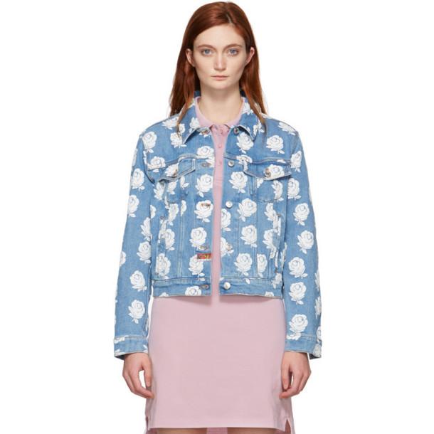Kenzo Blue & White Denim Roses Jacket