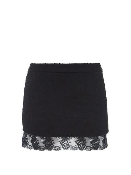 Saint Laurent - Lace-trim Tweed-bouclé Mini Skirt - Womens - Black