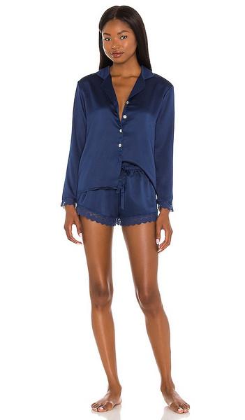 Flora Nikrooz Victoria Long Sleeve Short Set in Navy in blue