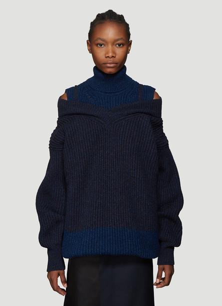 Maison Margiela Double Layer Turtleneck Sweater in Blue size M