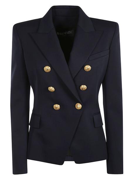 Balmain Golden Button Double Breasted Blazer in blue