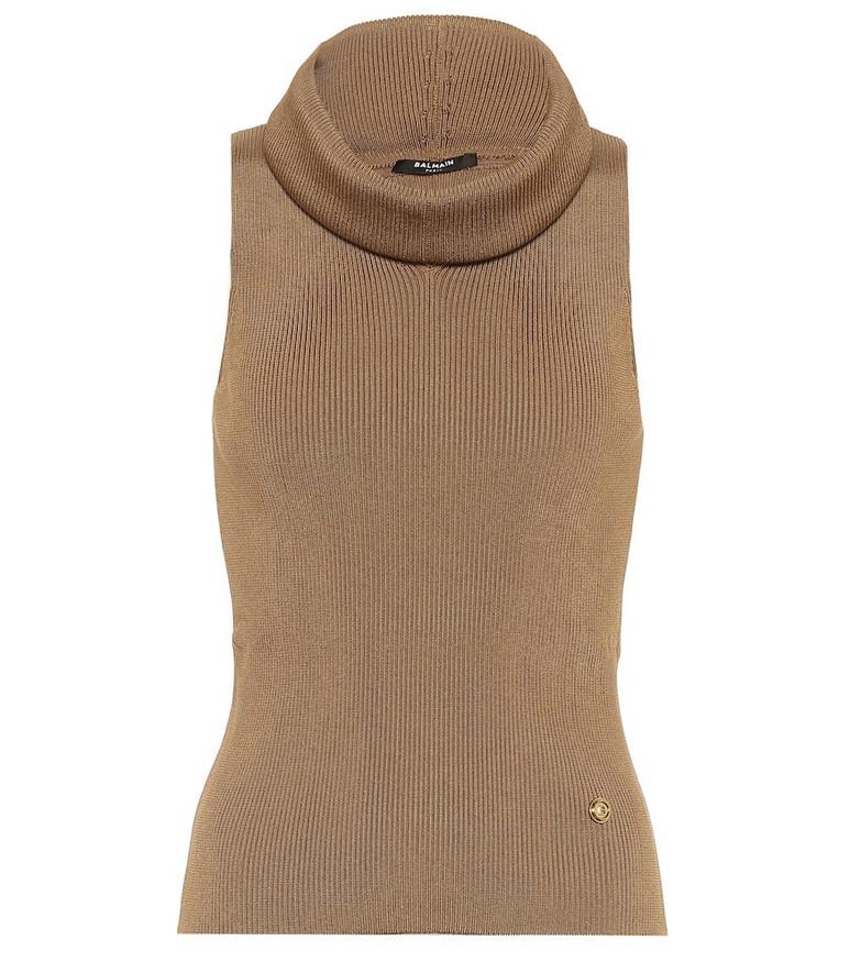 Balmain Knit turtleneck tank top in brown