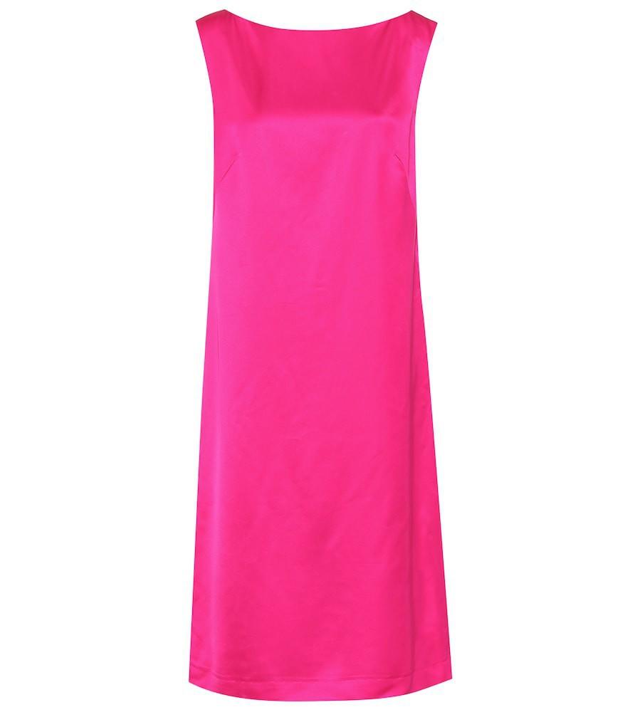 Dries Van Noten Satin midi dress in pink