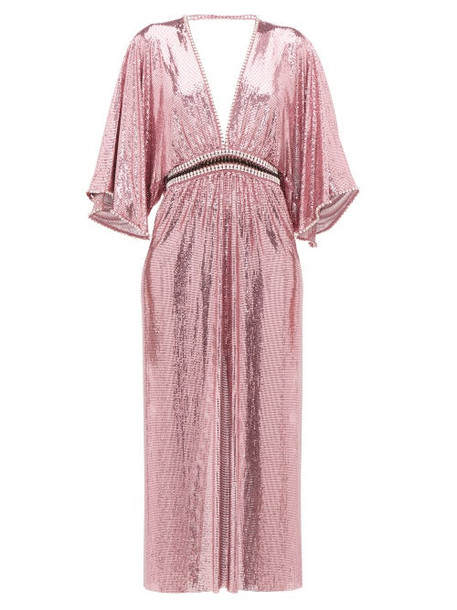 Paco Rabanne - Crystal-embellished Plunge-neck Chainmail Dress - Womens - Pink
