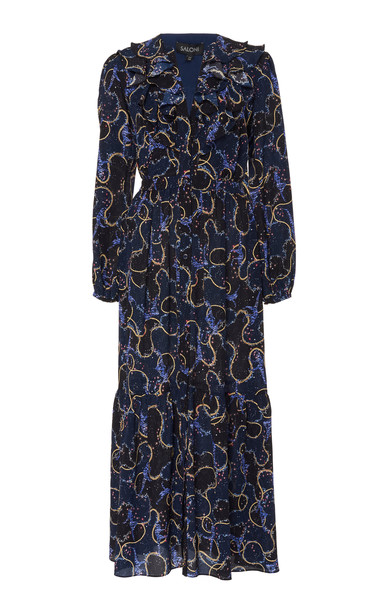 Saloni Ginny Abstract Floral Midi Dress in blue