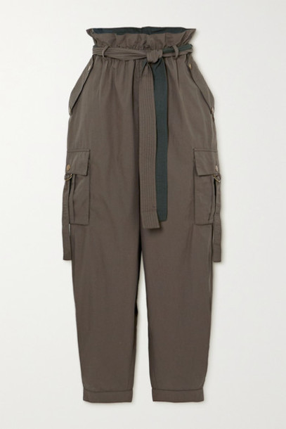 Ulla Johnson - Willett Belted Cotton Tapered Pants - Army green
