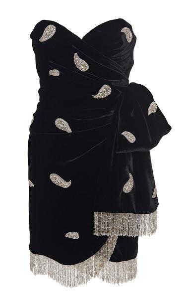 Dundas Embellished Wrap-Effect Velvet Mini Dress Size: 36