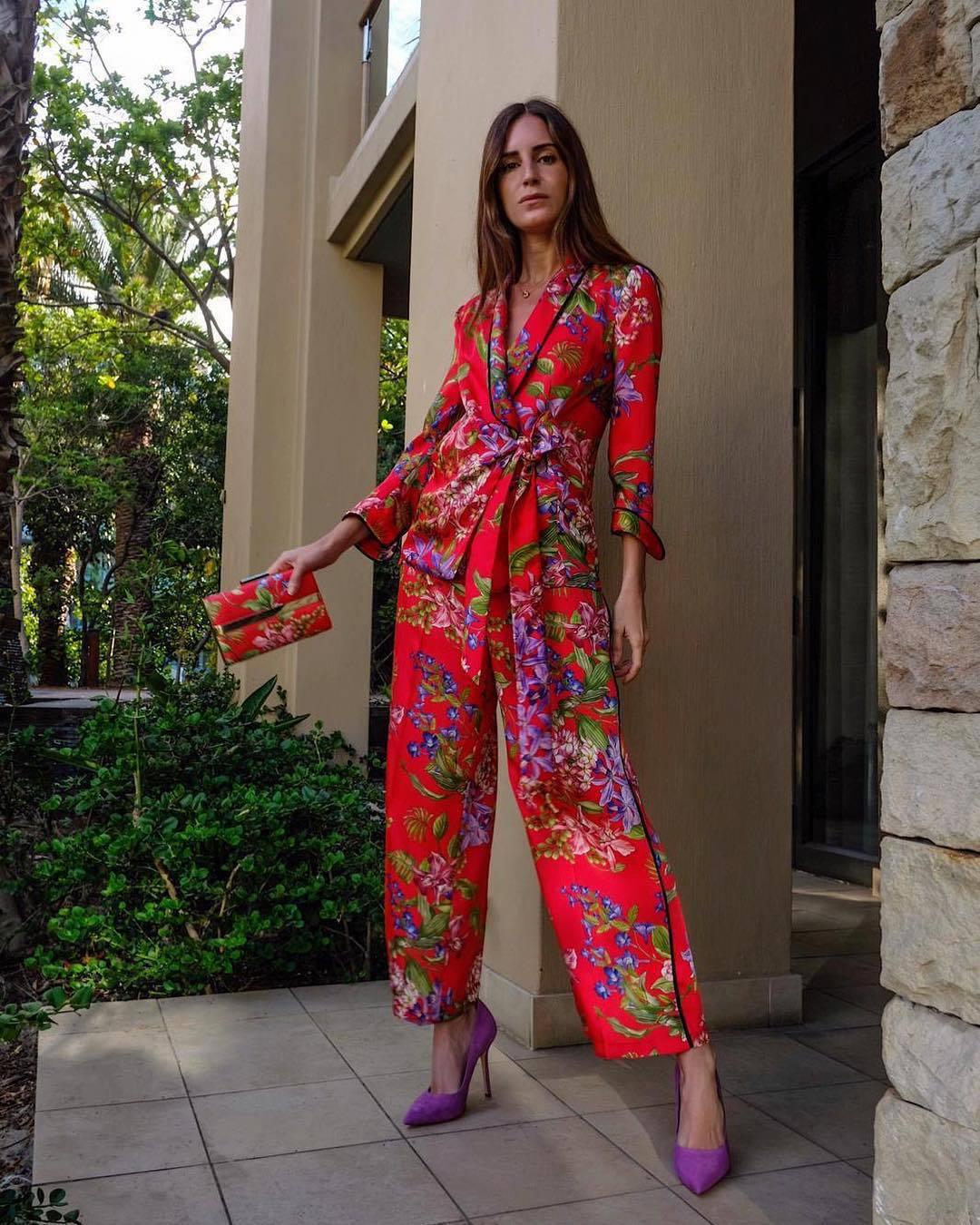 pants wide-leg pants pumps blazer floral pants high waisted mini bag