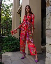 pants,wide-leg pants,pumps,blazer,floral pants,high waisted,mini bag