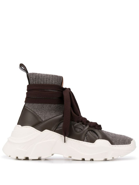 Agnona high-top wraparound sneakers in brown