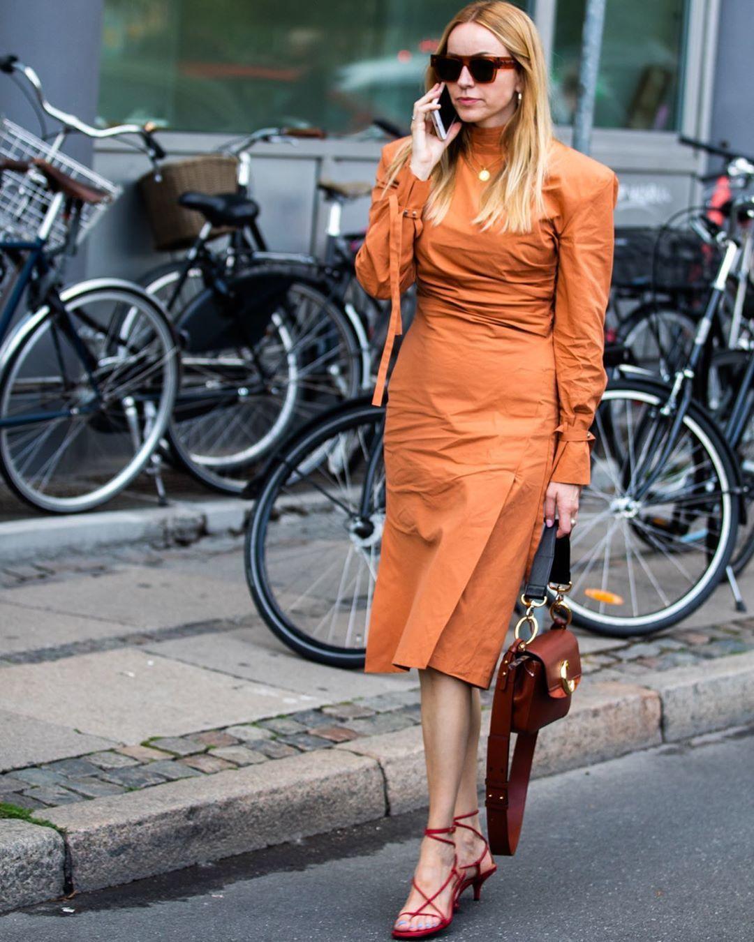 dress midi dress orange dress turtleneck dress long sleeve dress sandal heels bag