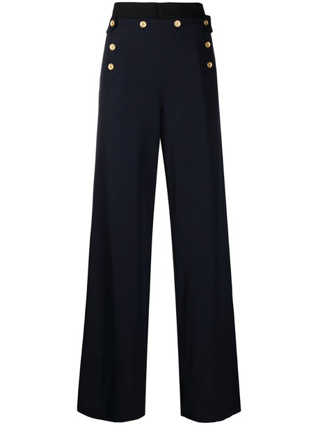 Ports 1961 buttoned wide-leg trousers in blue