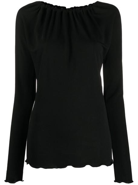 Jil Sander gathered-neck long-sleeve top in black
