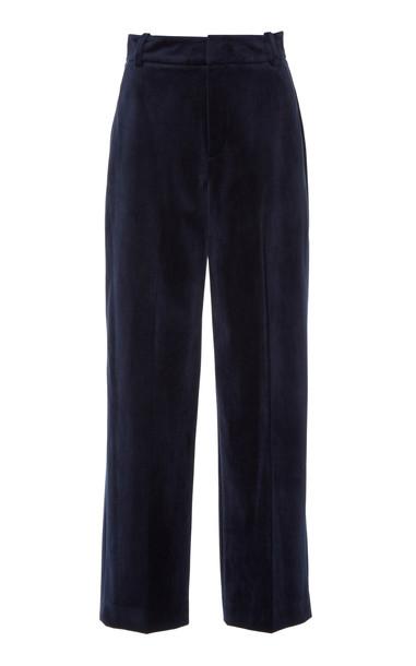 Vince Cropped Velvet Wide-Leg Pants Size: 4 in navy