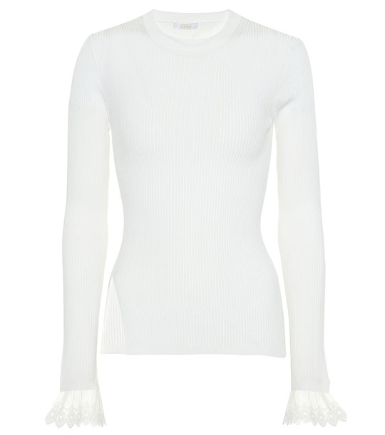 Chloé Organza-trimmed ribbed-knit sweater in white
