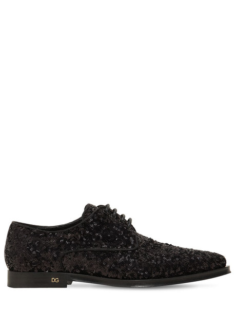 DOLCE & GABBANA 10mm Millennial Sequined Lace-up Shoes in black