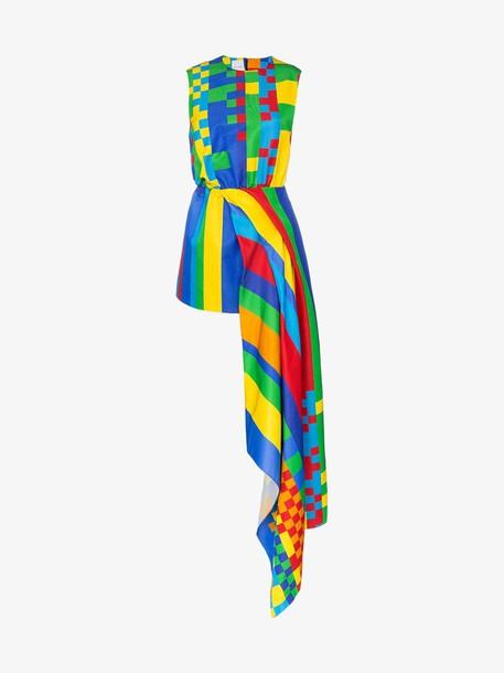 Halpern Pixel print sleeveless silk blend mini dress