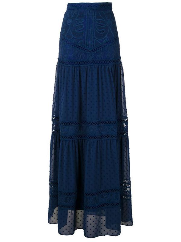 Martha Medeiros Yana lace maxi skirt in blue