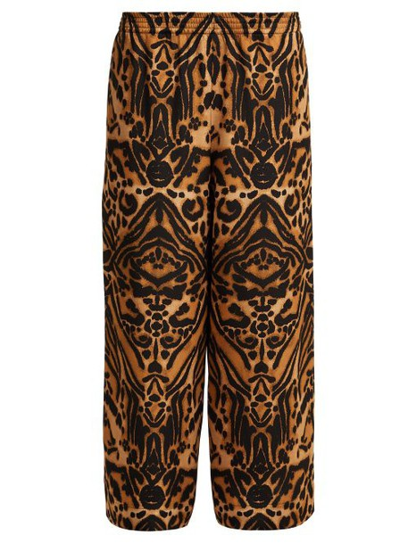 Raey - Tiger Print Silk Cady Pyjama Trousers - Womens - Brown Multi
