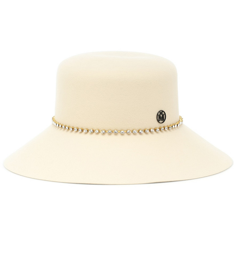 Maison Michel New Kendall embellished wool-felt hat in white