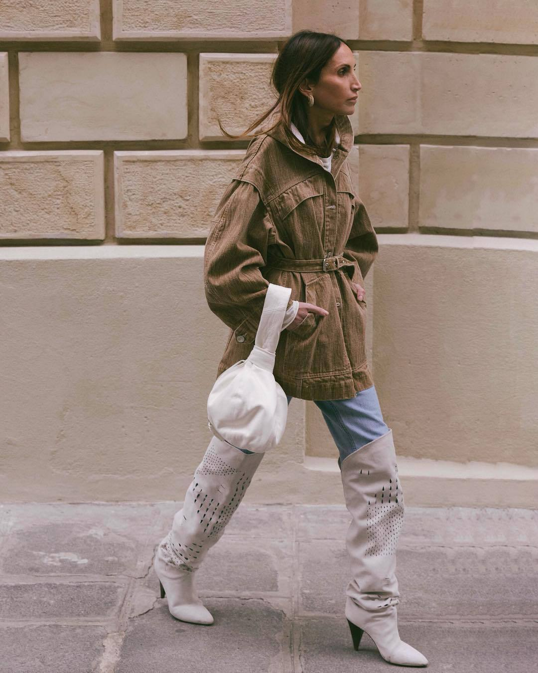 shoes over the knee boots isabel marant heel boots jeans denim jacket brown jacket oversized jacket white t-shirt white bag handbag