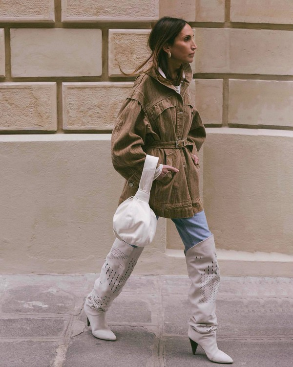 shoes over the knee boots isabel marant heel boots jeans denim jacket brown jacket oversized jacket white t-shirt white bag handbag