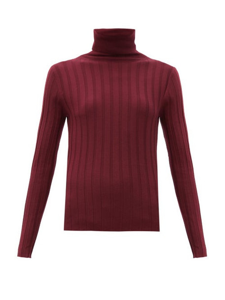 Allude - Roll-neck Ribbed-wool Sweater - Womens - Burgundy