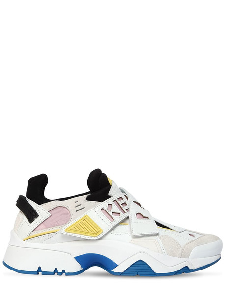 KENZO 30mm New Sonic Leather & Suede Sneakers in pink / white
