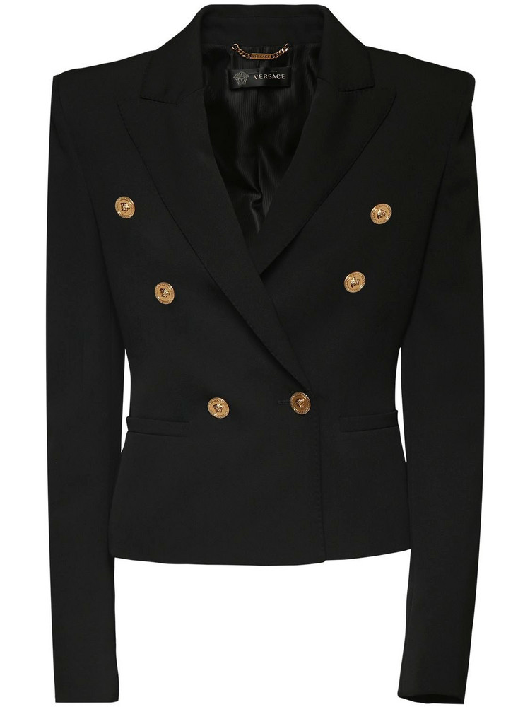 VERSACE Double Breasted Wool Gabardine Blazer in black