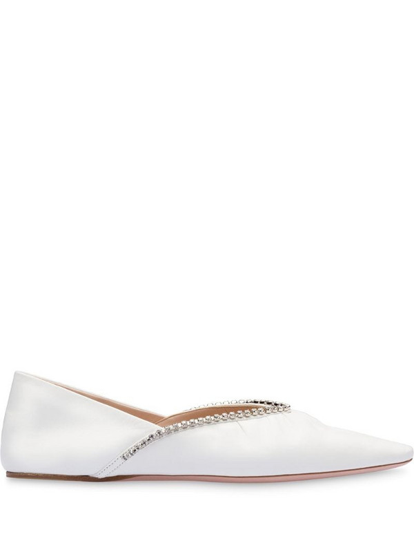 Miu Miu crystal embellished ballerina shoes in white