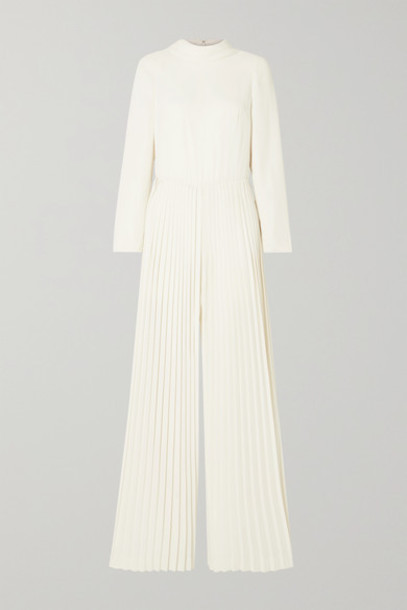 Monique Lhuillier - Pleated Crepe Jumpsuit - Ivory