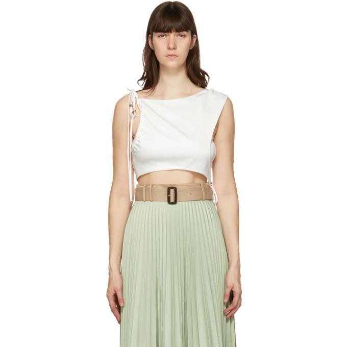 Andersson Bell White Drape String Sofie Tank Top in ivory