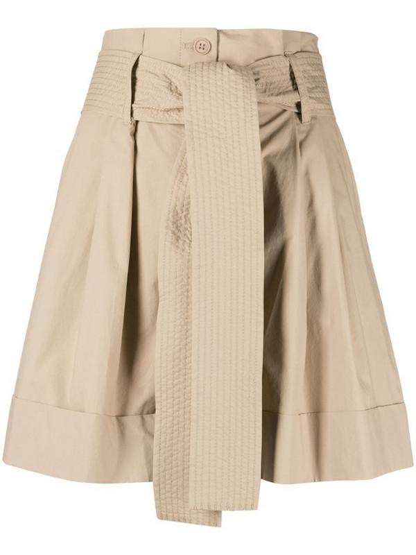 P.A.R.O.S.H. high-waisted cotton shorts in neutrals