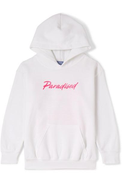 Paradised Kids - Printed Jersey Hoodie - White
